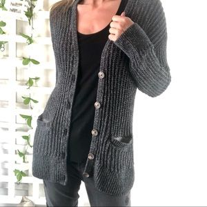 AE Cardigan Sweater long line Grandpa Cable knit